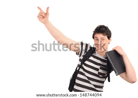 Student pointing up. Happy handsome young man holding a notebook pointing to the side. Isolated on white background. - stock photo