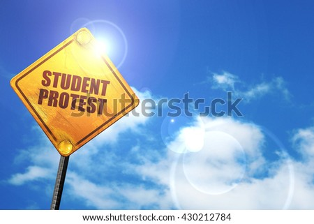 student protest, 3D rendering, glowing yellow traffic sign  - stock photo