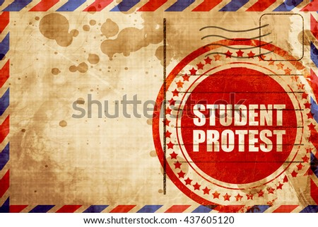student protest, red grunge stamp on an airmail background - stock photo