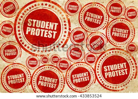 student protest, red stamp on a grunge paper texture - stock photo