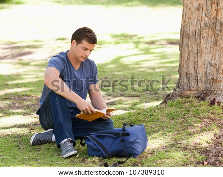 Student reading a textbook sitting in a park - stock photo