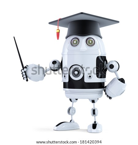 Student robot with pointer. Isolated on white - stock photo