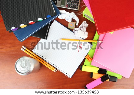 Student's workplace - stock photo