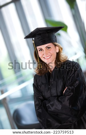 Student: Smiling Adult Student At Graduation