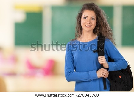 Student. Student on Campus with Backback - stock photo