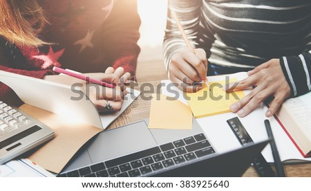 Student Studying Brainstorming Campus Concept - stock photo