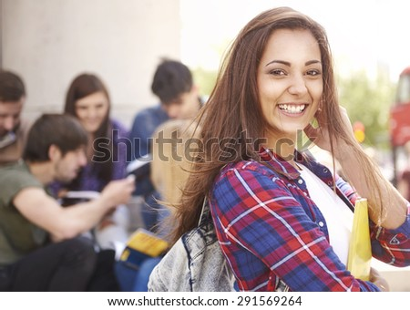 Student waiting for her classes - stock photo