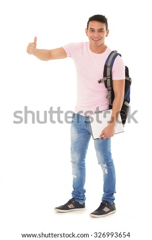 student wearing a backpack with thumbs up on a white background - stock photo