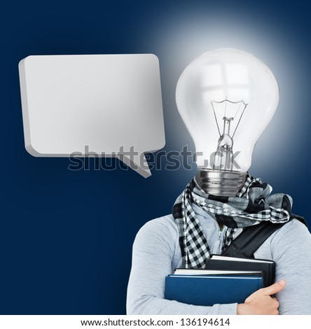 Student with a light bulb head and blank speech bubble on blue background