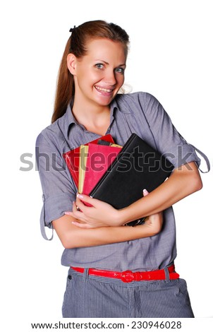 Student with books for homework - stock photo