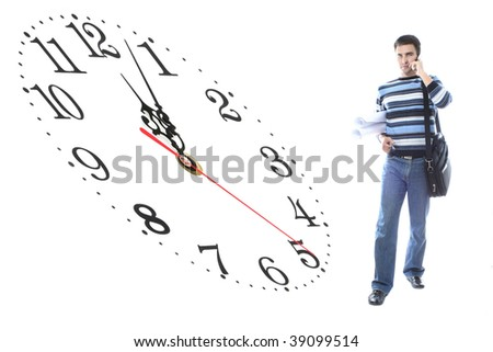 student with drawings and clock - stock photo