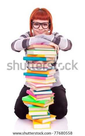 student with pile of books, concept back to school, isolated on white