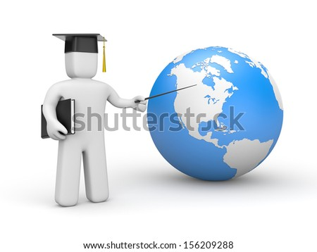 Student with pointer and question - stock photo