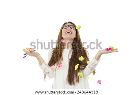 Student with post its falling from the sky against a white background - stock photo
