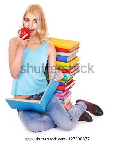 Student with stack book and apple. Isolated.