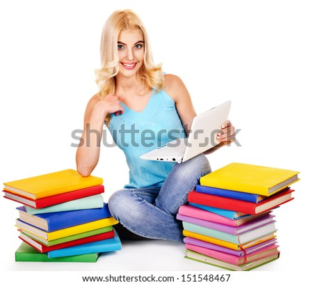 Student with stack book and notebook . Isolated.