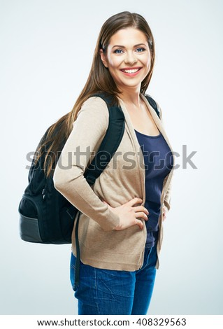 Student woman isolated portrait. Smiling girl on white background.Long hair.