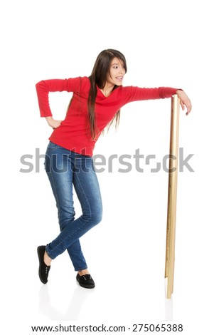 Student woman leaning on copyspace. - stock photo