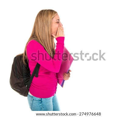 Student woman shouting over isolated white background