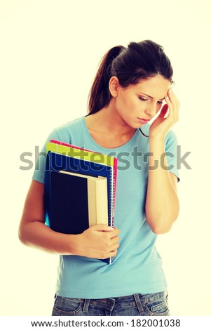 Student woman with depression - stock photo