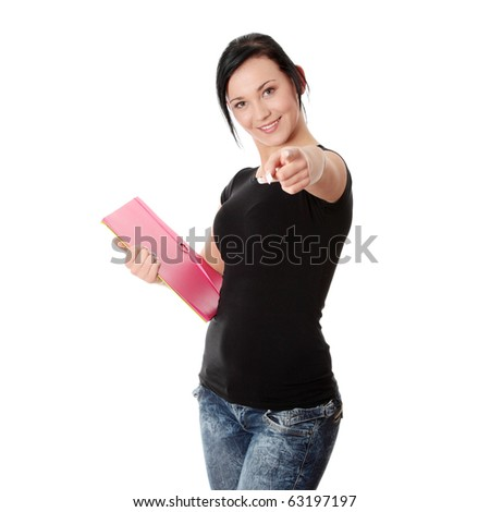 Student woman with note pad , isolated on white background