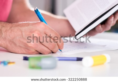 Student working for exams
