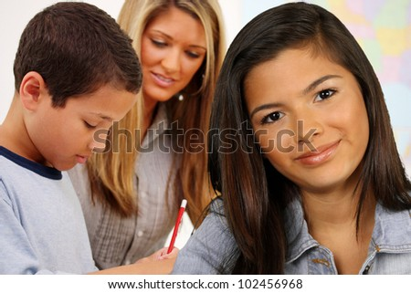 Students And A Teacher At Their School - stock photo