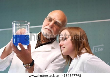 Students and teachers examine their experiment in the classroom - stock photo