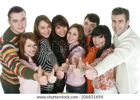 students are happy with the books before the an examination - stock photo