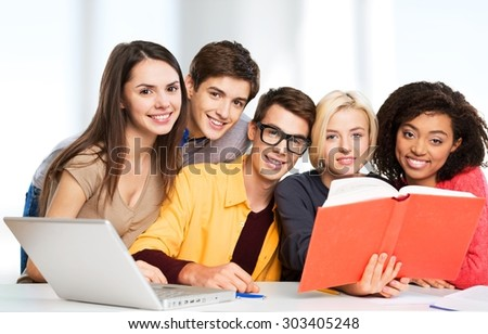 Students, classroom, class. - stock photo