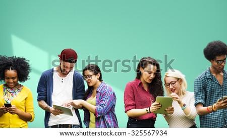 Students Diversity Learning Social Media Education - stock photo