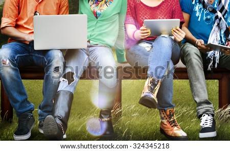 Students Education Social Media Laptop Tablet - stock photo