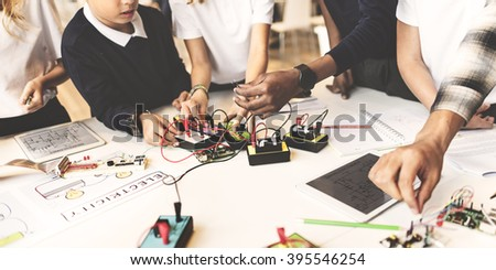 Students Experiment Observation Physics Study Concept - stock photo