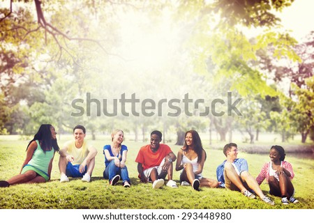 Students Friendship Team Relaxation Holiday Concept - stock photo