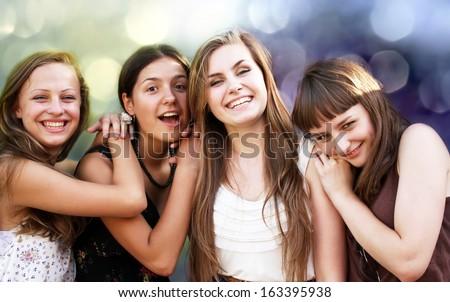 Students girls having fun - stock photo