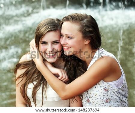 Students girls having fun outside - stock photo