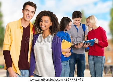 Students. Group of happy students - stock photo
