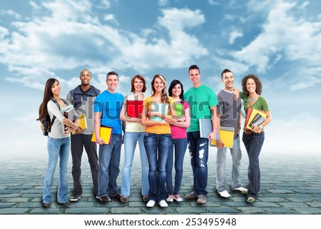 Students group over urban background. Education. - stock photo