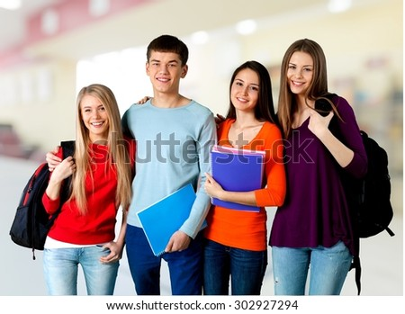 Students, group, university.