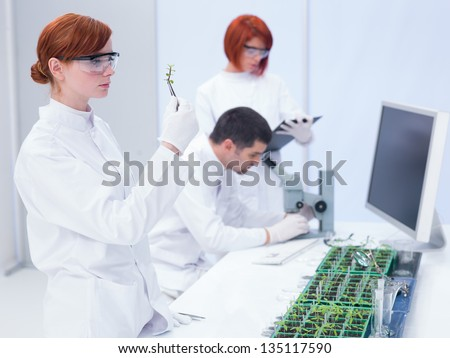 students in a chemistry lab  analyzing a plant and observing chemical reactions under the supervision of a teacher who analyzes under microscope on a lab table with seedlings and lab tools - stock photo