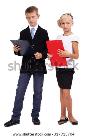 Students in business suits on white background discussing a startup, picture with depth of field and artistic blur - stock photo