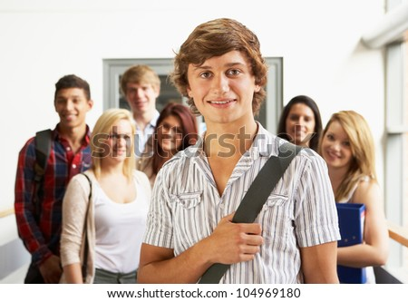 Students in college - stock photo