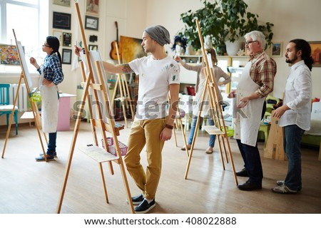 Students in workshop - stock photo