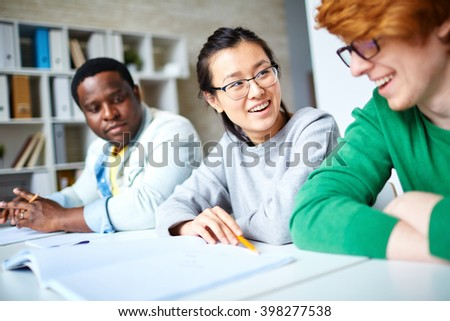 Students interacting - stock photo