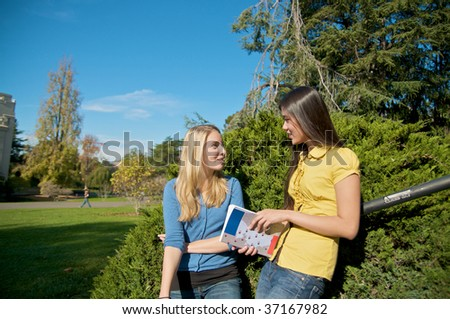 Students on campus - stock photo