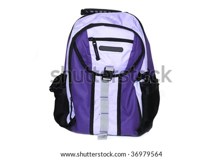 Students purple back pack isolated on white background