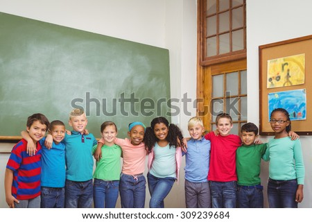 Students standing together in a line at the elementary school - stock photo