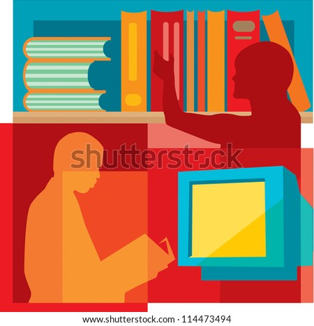 Students studying in the library, montage