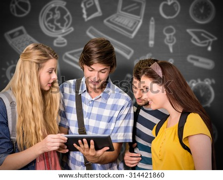 Students using digital tablet at college corridor against black background - stock photo