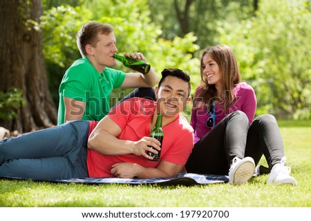 Students with beer sitting in the park - stock photo